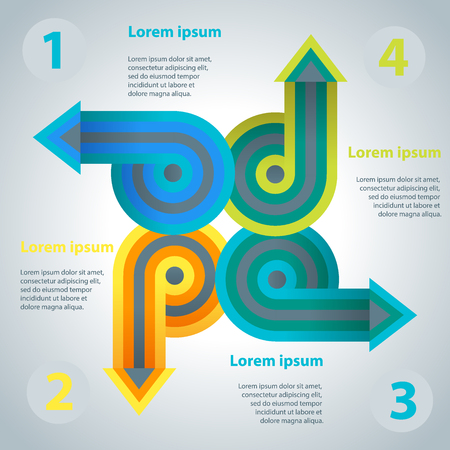 directed: Abstract infographics template with arrows directed from the center. Vector illustration. Template for workflow layout, diagram, number options, business step options, banner, web design.