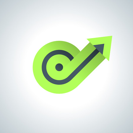 Growing arrow green spiral 3d chart on white backgorund. Illustration
