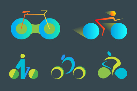 leisure time: Set of colorful Bicycle abstract vector icon and logo templates. Design element for environmentally safe transport, leisure time and outdoor sport.