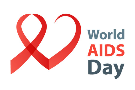 alert ribbon: World aids day vector illustration. Red Aids Ribbon heart concept.