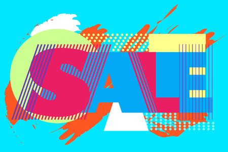advertisment: Sale banner on colorful background with geometric elements. Sale word for tag, poter and advertisment. Vector illustration. Illustration