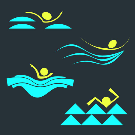 aqua park: Set of swimming person silhouettes. Collection of Vector abstract swimming pool icon and logo templates.