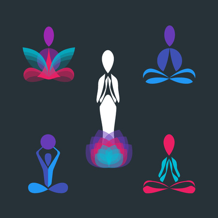 health and wellness: Set of Yoga lotus pose silhouettes. Collection of Vector logotype and icon design templates for yoga studio or meditation class. Healthcare, fitness, Beauty, Spa, Relax, Nirvana, logo design elements.