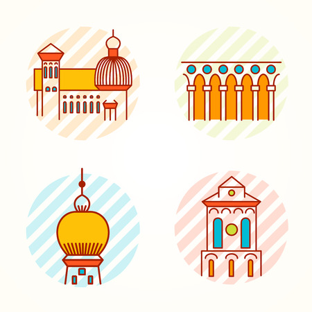 renaissance: Set of Monument, building, tower and collonade thin line colorful vector icons. Cartoon logo, badge and label of building in antique, renaissance and byzantine style. Illustration