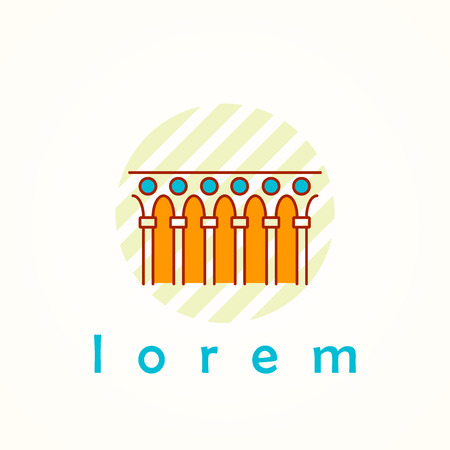 byzantine: Monument and colonnade thin line colorful vector icon. Cartoon logo, badge and label of terrace in antique, renaissance and byzantine style.