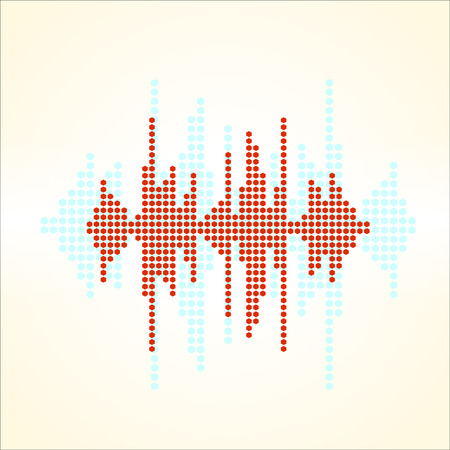 sonic: Vector retro sound wave. Halftone square vector elements. Music polygons waveform background. You can use in club, radio, pub, party, concerts, recitals or the audio technology advertising background. Illustration