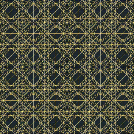 interweaving: Vector dark seamless pattern with interweaving of thin lines. Decoration graphic in mono line style. Simple abstract ornamental gray and gold illustration. Linear, art deco, vintage, hipster style.