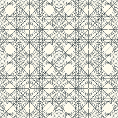 interweaving: Vector light seamless pattern with interweaving of thin lines. Decoration graphic in mono line style. Simple abstract ornamental gray and gold illustration. Linear, art deco, vintage, hipster style. Illustration
