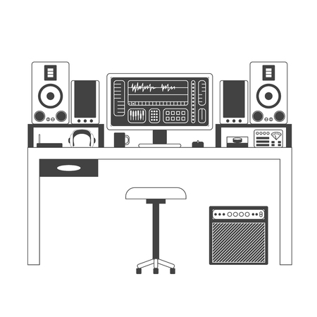 console table: Musician workspace vector monochrome thin line illustration. Musician working table with digital equipment. Computer, headphones, sequencer, loudspeakers and combo isolated on white background.