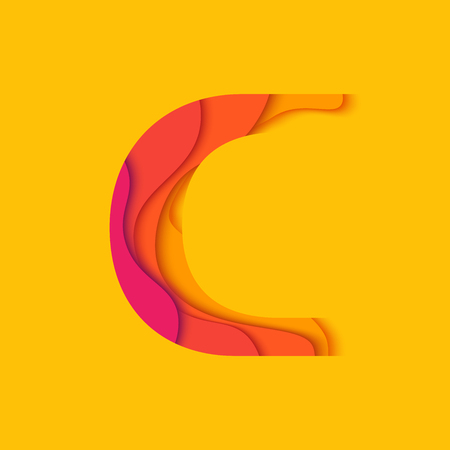 c design: Letter C design template element. Material design Character C vector logo, icon and sign.