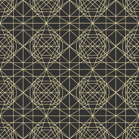 dark gray line: Hipster and vintage Vector geometrical dark seamless pattern with interweaving of thin lines. Decoration graphic in mono line style. Simple abstract ornamental gray and gold illustration.