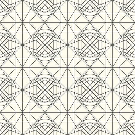 interweaving: Hipster and vintage Vector geometrical light seamless pattern with interweaving of thin lines. Decoration graphic in mono line style. Simple abstract ornamental gray and gold illustration.