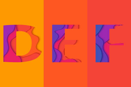 def: Letters D, E, F design template element. Material design  Characters DEF vector logo, icon and sign.