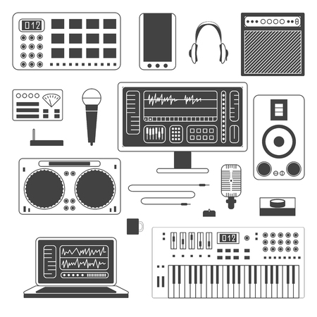 console table: Set of Musician digital equipment. Vector Musician workspace elements in monochrome thin line style. Computer, headphones, sequencer, loudspeakers, microphone and combo isolated on white background.