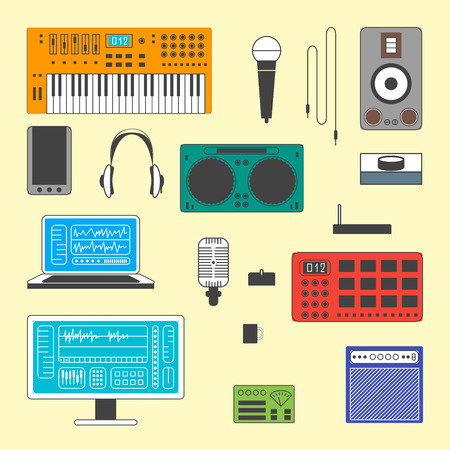 console table: Colorful Set of Musician digital equipment. Vector Musician workspace elements in thin line style. Computer, headphones, sequencer, loudspeakers, microphone and combo isolated on white background. Illustration