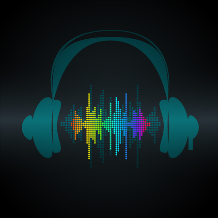 vibrations: Vector sound wave with headphones. Equalizer Music polygons waveform background. You can use in club, radio, pub, party, concerts, recitals or the audio technology advertising background.