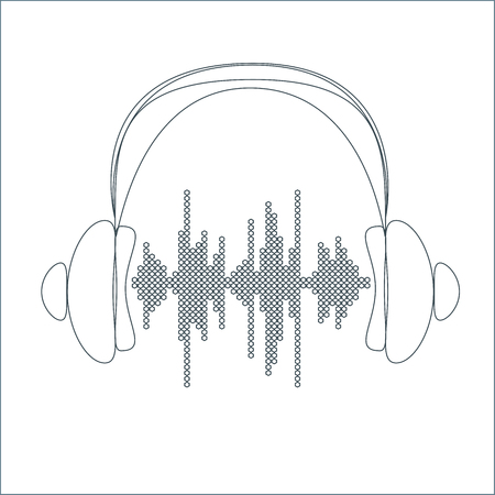 waveform: Vector sound wave with headphones. Equalizer Music polygons waveform thin line background. You can use in club, radio, pub, party, concerts, recitals or the audio technology advertising background. Illustration