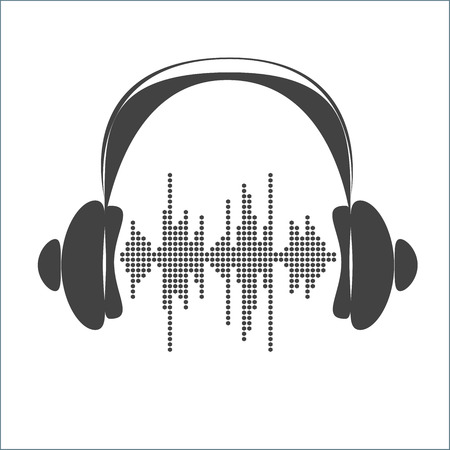 vibrations: Vector sound wave with headphones. Equalizer Music polygons monochrome waveform background. You can use in club, radio, pub, party, concerts, recitals or the audio technology advertising background.