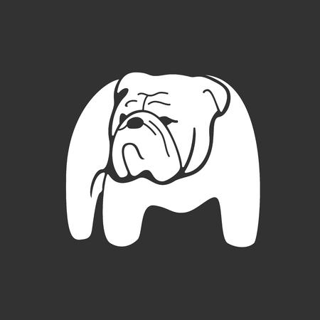 silueta en blanco y negro bulldog. dibujado mano monocromático logotipo de señalar bulldog sobre fondo oscuro. Fácil editable. concepto de diseño del vector que puede ser utilizado en la impresión, la cubierta o el diseño del tatuaje.