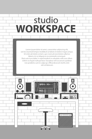 console table: Musician studio workspace vector monochrome thin line illustration background. Musician working table with digital equipments. Computer, headphones, sequencer, loudspeakers and combo on brickwall.