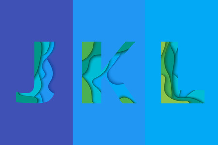 char: Letters J, K, L design template element. Material design Characters JKL icon and sign.
