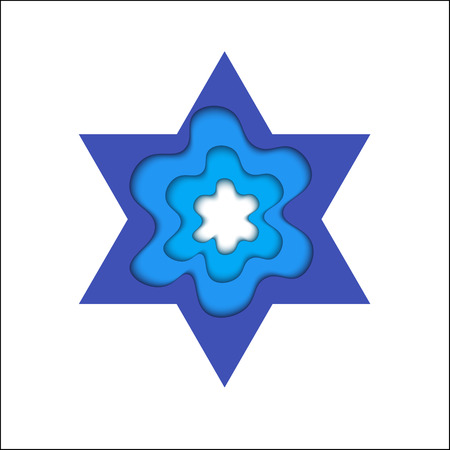 judah: Star of David with shadow. Magen and shield of David. The day of Jerusalem. Judah religious symbol.