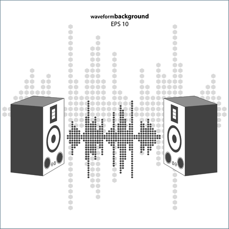 radio dj: sound wave with speakers. Equalizer Music polygons waveform isolated on white background. May be used in club, radio, party, dj, concerts or the audio technology advertising background.