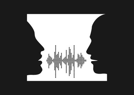 illustration of two people talk face to face. Silhouettes of talking man and women in the window. Two people share words in sound wave equalizer. Иллюстрация