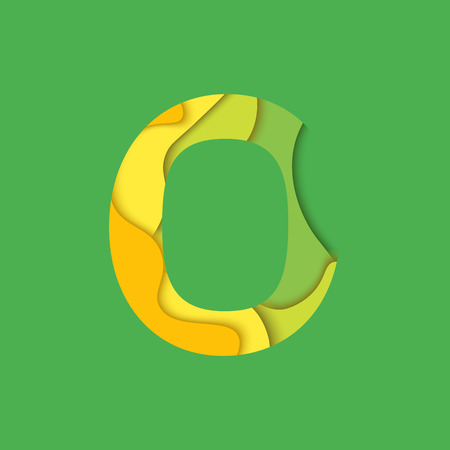 char: Letter O design template element. Material design Character O , icon and sign. Zero symbol. Illustration