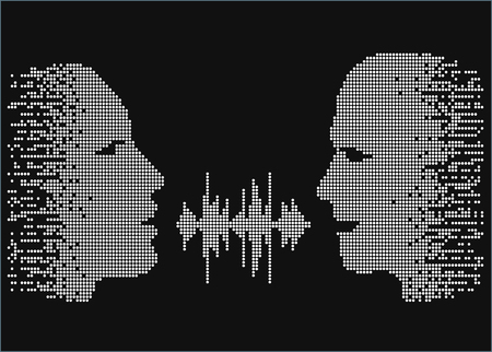 two women talking: illustration of two people talk face to face. Pixel silhouettes of talking man and women. Two people share words by sound wave equalizer.