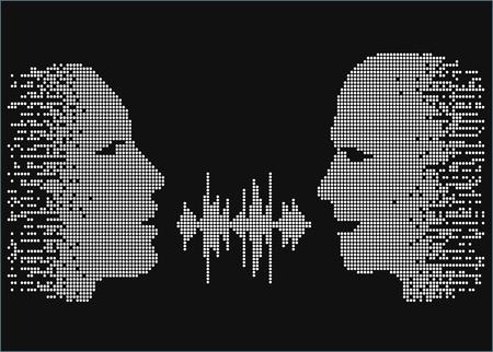 illustrazione di due persone parlare faccia a faccia. Pixel sagome di parlare uomo e donna. Due persone condividono le parole di equalizzatore onda sonora.
