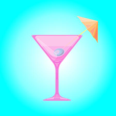 cocktail umbrella: Martini glass with olive and cocktail umbrella. Cocktail Candy Relax summer background. illustration. Illustration