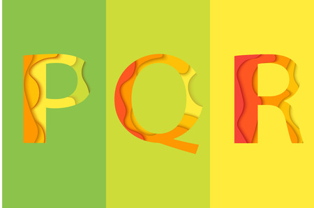 char: Letters P, Q, R design template element. Material design Characters PQR , icon and sign. Illustration