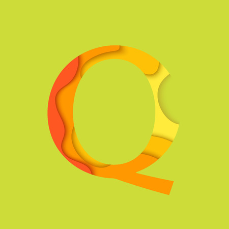 char: Letter Q design template element. Material design Character Q , icon and sign.