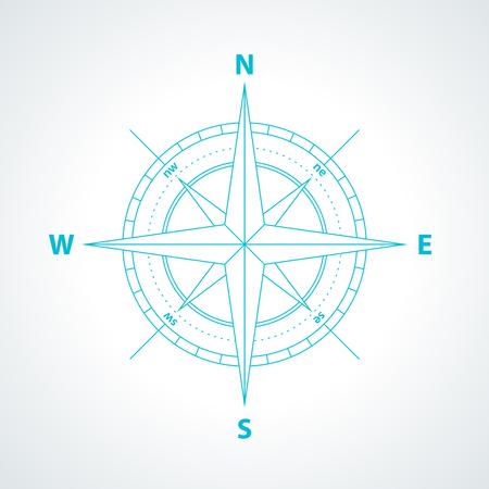 Einfache Windrose isoliert auf weißem Hintergrund. Moderne dünne Linie Kompass-Symbol Abbildung.