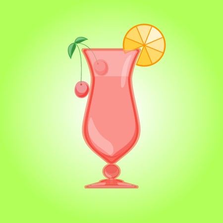 pina colada: Hurricane cocktail, pina colada glass with cherry and orange. Candy Relax summer background. illustration.