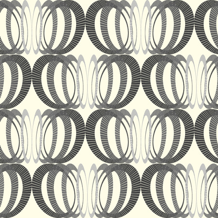 interweaving: Hipster and vintage Vector geometrical monochrome seamless pattern with interweaving of circles. Decoration graphic in mono line style. Simple abstract ornamental gray and gold illustration. Illustration