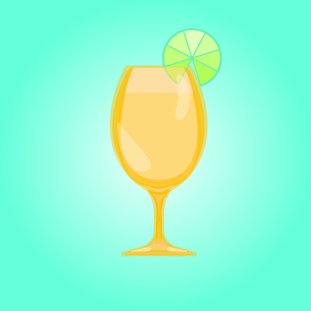 Sour, withe and red glass. Beer Goblet glass. Cocktail and saucer Candy Relax summer background. Vector illustration.