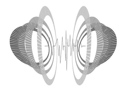 Abstract ripetuto cerchi monocromatici in prospettiva con forma d'onda. Equalizzatore futuristico nello spazio. Minimo geometrico 3d moderno tech hipster sfondo. Vettoriali