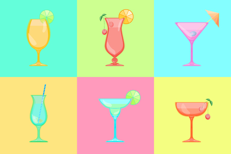 pina colada: Set of cocktail icons. Martini and Margarita, Saucer and champagne, Hurricane and pina colada, Sour, Tulip and Beer Goblet glass. Candy Relax summer background.
