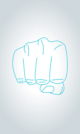 towards: Illustration of front view of right human hand punching towards viewer in thin line style. Clenched fist aimed directly at the viewer. Fist sign hand gesture.
