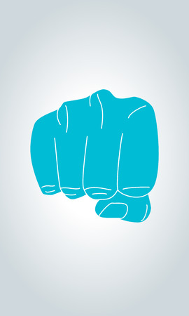 lug: Illustration of front view of right human hand punching towards viewer in thin line style. Clenched fist aimed directly at the viewer. Fist sign hand gesture.