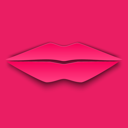 sex appeal: Pink lips in 3d, paper and origami style.