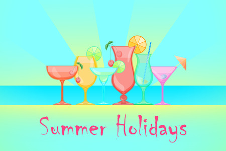 champagne orange: Summer Cocktails. Relax summer holidays illustration. Candy Vector background.