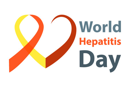 hepatitis prevention: World hepatitis day vector illustration. Red and yellow hepatitis Ribbon heart concept.