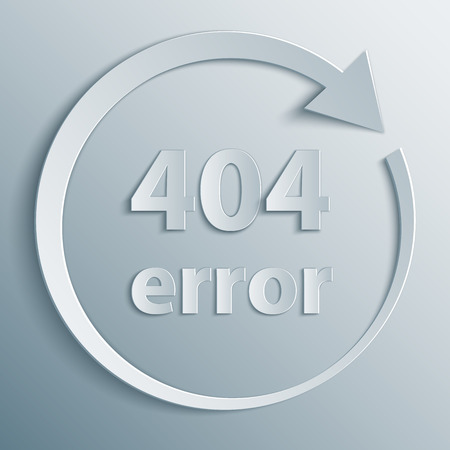 404 Error template with reboot round arrow in 3d, paper and origami style. The page not found background. Ilustrace