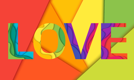 Love word, mockup print colored graphic layered design for t-shirt or poster background.Material layered colored background.