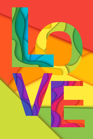 layered: Love word, mockup print colored graphic layered design for t-shirt or poster background.Material layered colored background.