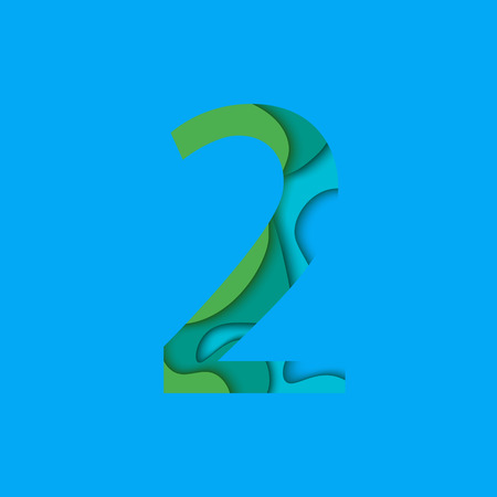 Number two design template element. Figure 2 icon and sign in material design style.