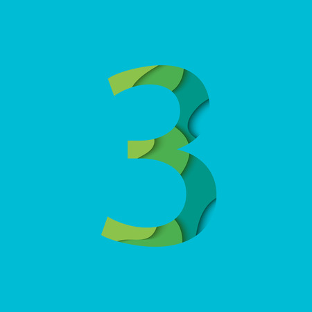 Number three design template element. Figure 3  icon and sign in material design style.